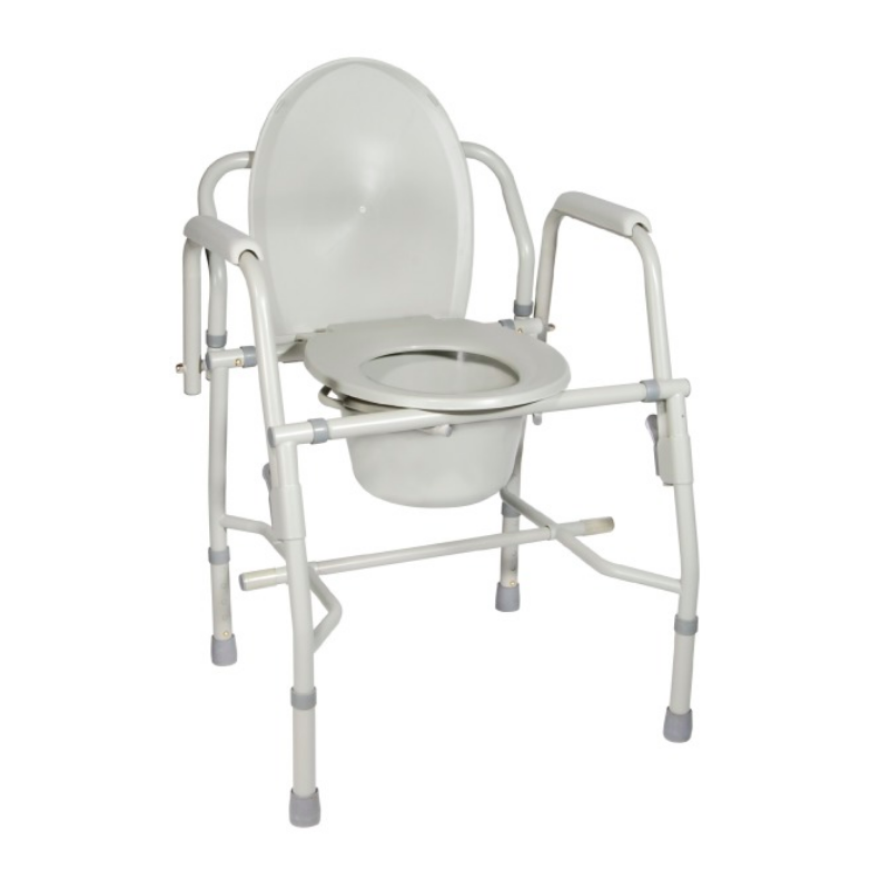 Deluxe Steel Drop-Arm Stationary Commode - Knocked Down Frame
