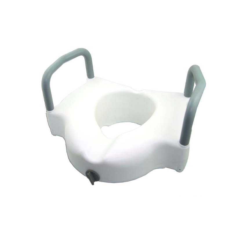"""EZee Life 4"""" Raised Toilet Seat - w/Removable Arms, 2-in-1 Locking"""