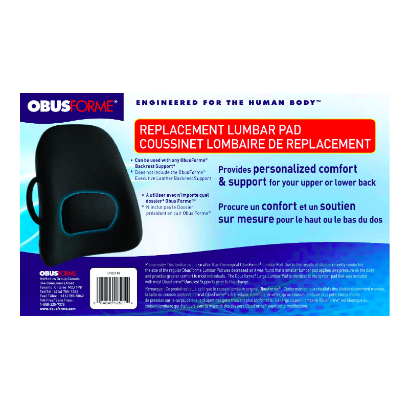 ObusForme Lumbar Pad Replacement - Black