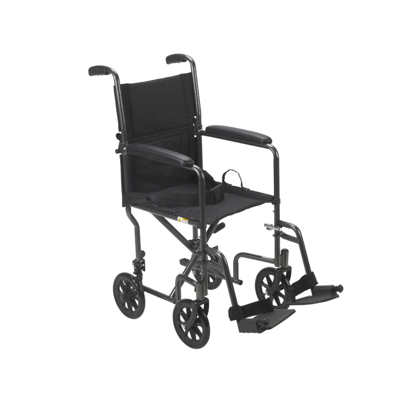"""Steel Transport Chair - 19""""Wx16""""D Seat, Silver Vein Finish"""