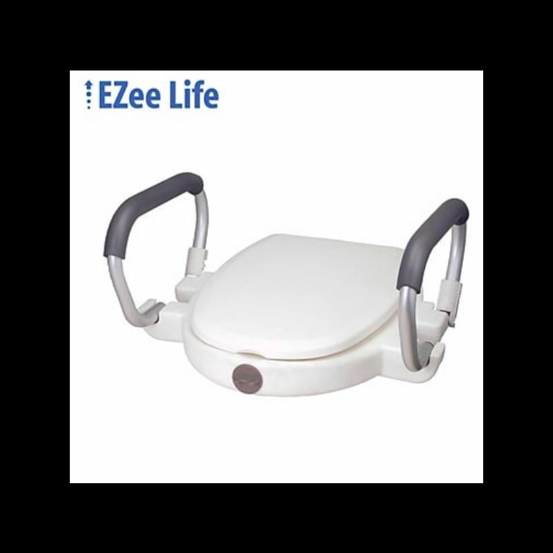 "EZee Life 2"" Raised Toilet Seat w/Padded Flip Back Arms"