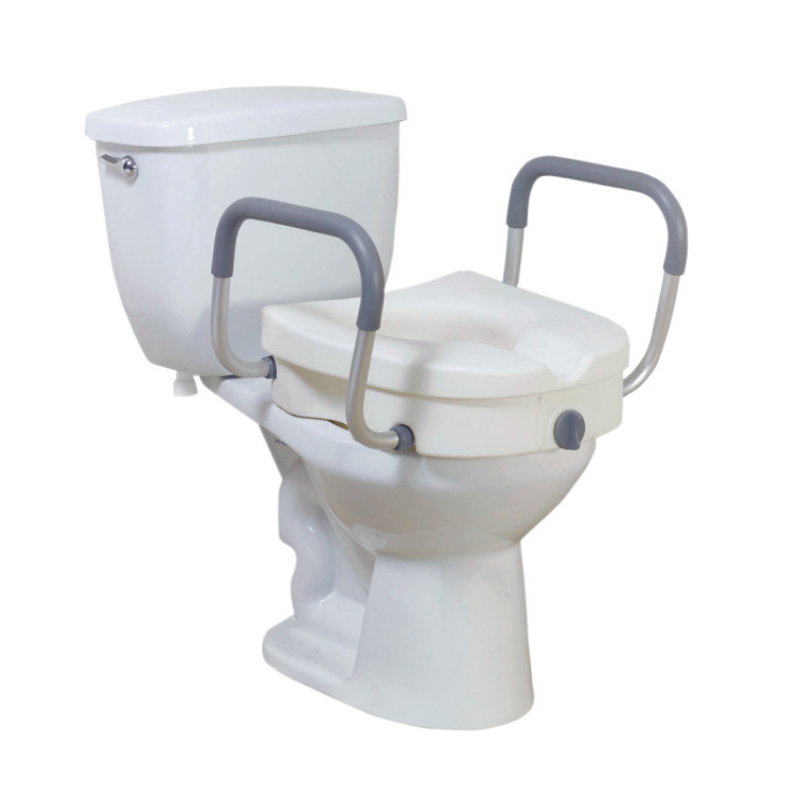 "2-in-1 Locking 5"" Raised Toilet Seat with Removable Padded Arms"