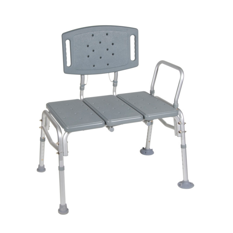 Bariatric Plastic Seat Tub Transfer Bench - Removable Back & Arm