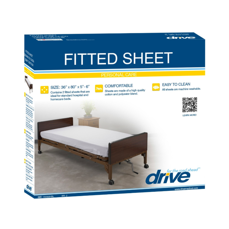 "Fitted Bed Sheet (2/Pk) - 36'x80""x5""-6"""