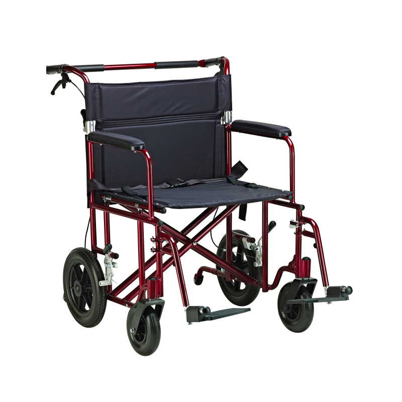 "Bariatric Aluminum Transport Chair - 22""Wx18""D Seat, Red"