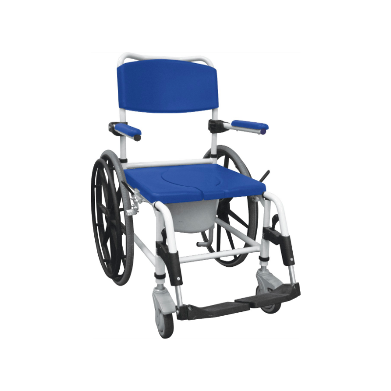 Aluminum Rehab Shower Commode Chair - White & Blue