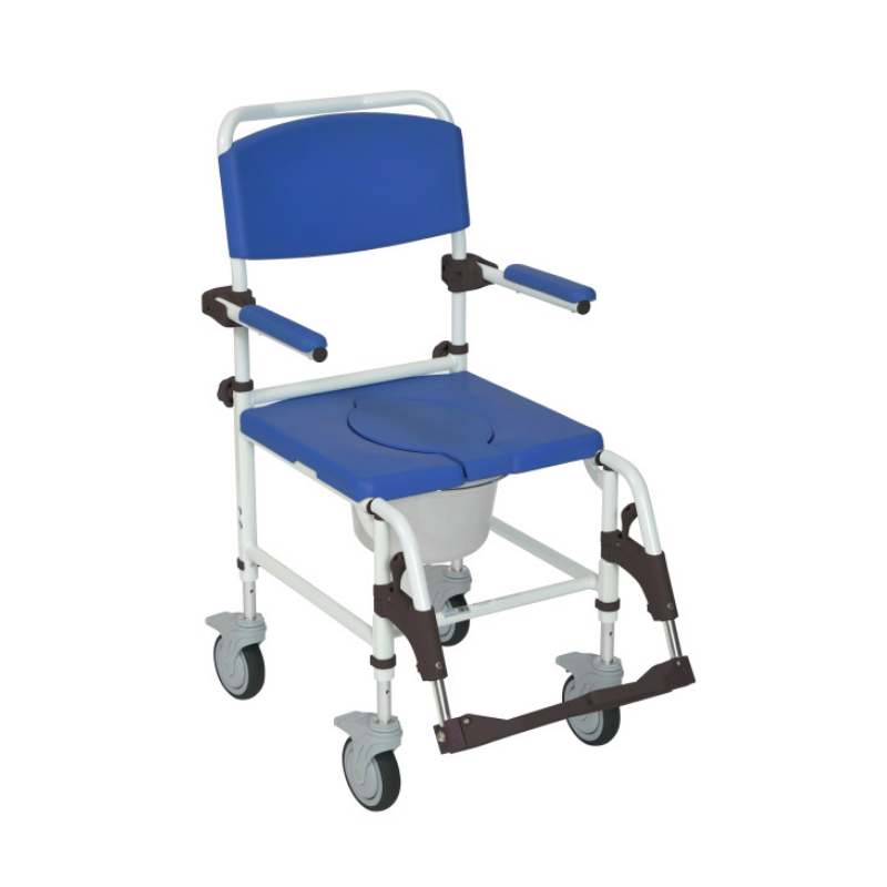Aluminum Rehab Shower Commode Chair - w/Four Rear-Locking Casters, White/Blue