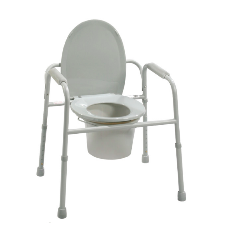 Deluxe All-In-One Welded Steel Commode - w/Plastic Armrests