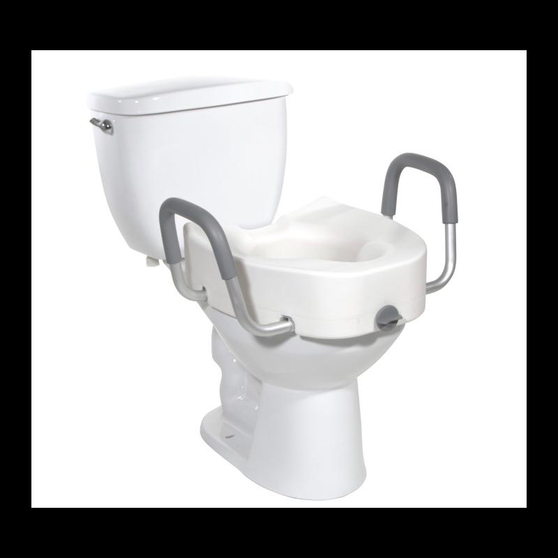 "Premium Plastic 5"" Raised Toilet Seat - Elongated w/Lock & Removable Arms"